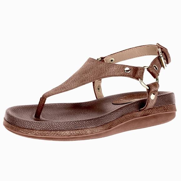Volatile Aura Vegan Metallic Thong Buckle Sandals